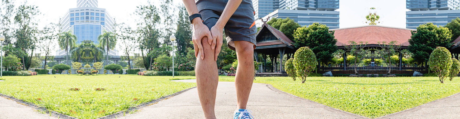adult man with knee injury